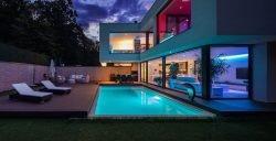 colored LED lights house