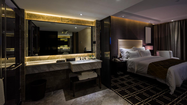 warm toned guestroom